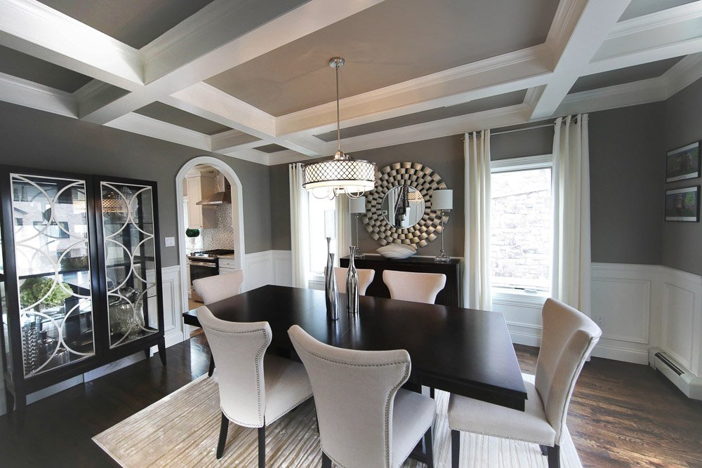 Staten Island Interior Designer Dining Room with wood table and six white chairs