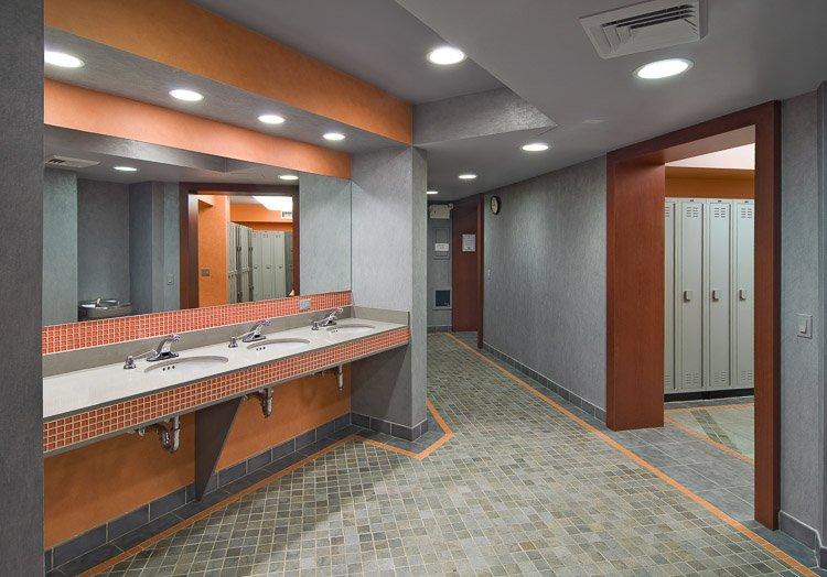 Staten Island YMCA locker room with sinks