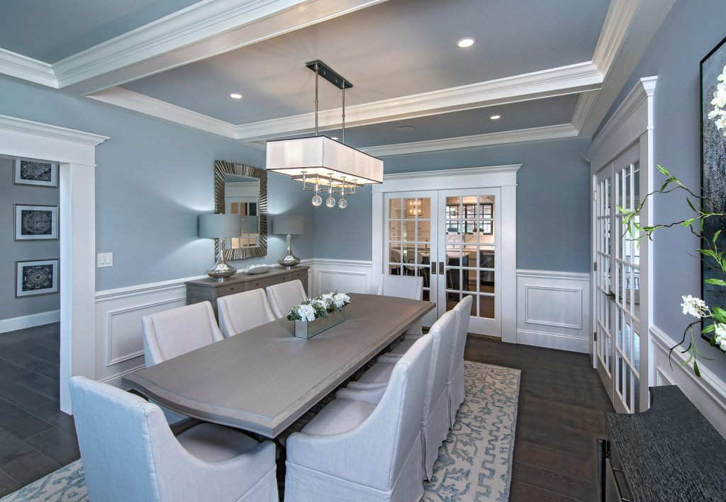 Dining room with wood table and seating for eight
