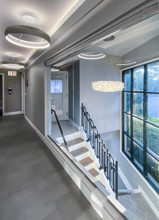 Corridor with stairs in dental office