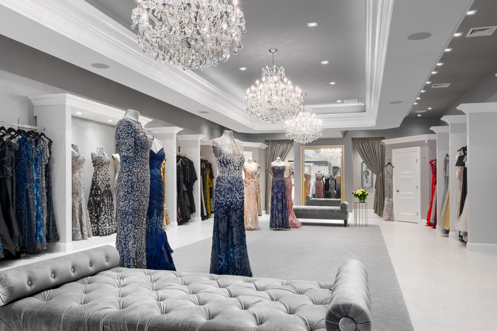 Dress shop with dresses and fitting rooms